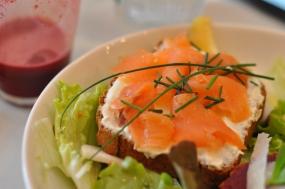 Tartine with radish cream, salmon and chive