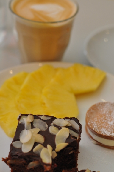 Brownie, cookie, pineapple (and my cappu in the background)